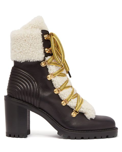 christian louboutin black leather shearling boots