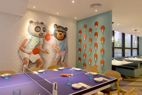 Room, Interior design, Table, Wallpaper, Ceiling, Building, Furniture, Leisure, Recreation room, Floor,