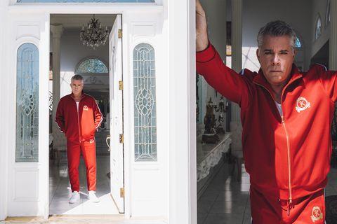 Red, Standing, Workwear, Outerwear, Door, Sleeve,