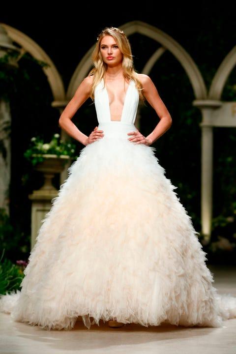Gown, Wedding dress, Clothing, Fashion model, Dress, Bridal clothing, Bridal party dress, Haute couture, Shoulder, Bride,