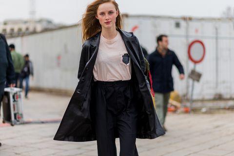 Street fashion, Clothing, Fashion, Snapshot, Outerwear, Coat, Leather, Jacket, Footwear, Street,