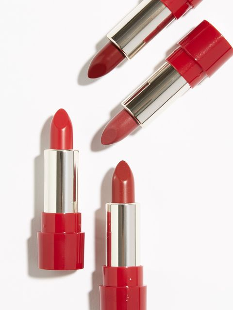 Red, Lipstick, Cosmetics, Lip care, Orange, Pink, Lip, Material property, Tints and shades, Coquelicot,