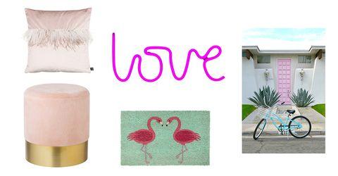 Pink, Product, Water bird, Flamingo, Room, Textile, Linens, Furniture, Table, Bird,