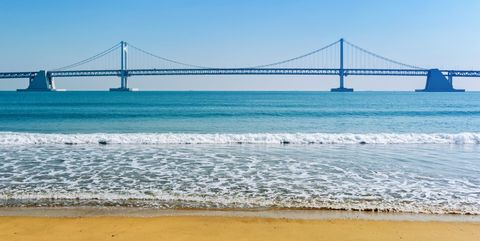 Cable-stayed bridge, Bridge, Suspension bridge, Extradosed bridge, Fixed link, Sea, Sky, Ocean, Water, Skyway,