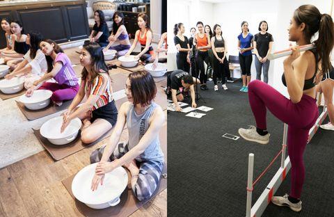 Physical fitness, Sitting, Pilates, Event, Aerobics, Room, Dance, Leisure, Sportswear, Balance,