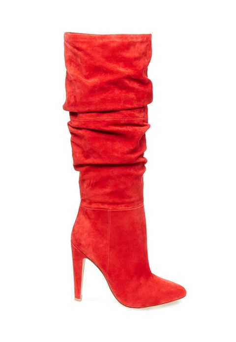 Footwear, Boot, Red, Knee-high boot, Shoe, Leather, High heels, Suede, Durango boot, Joint,