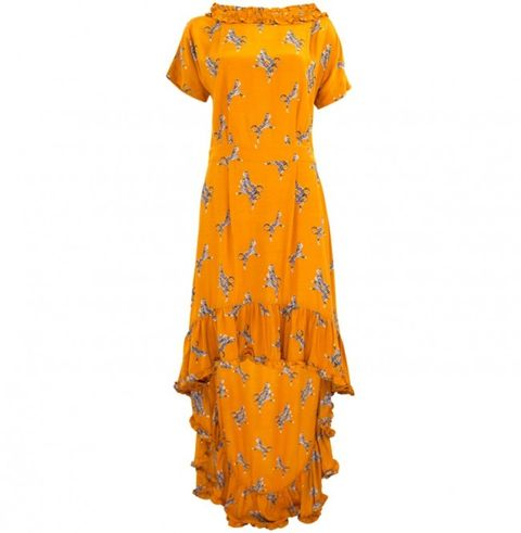 Clothing, Day dress, Orange, Dress, Yellow, Sleeve, Gown, Cover-up, Neck, Pattern,