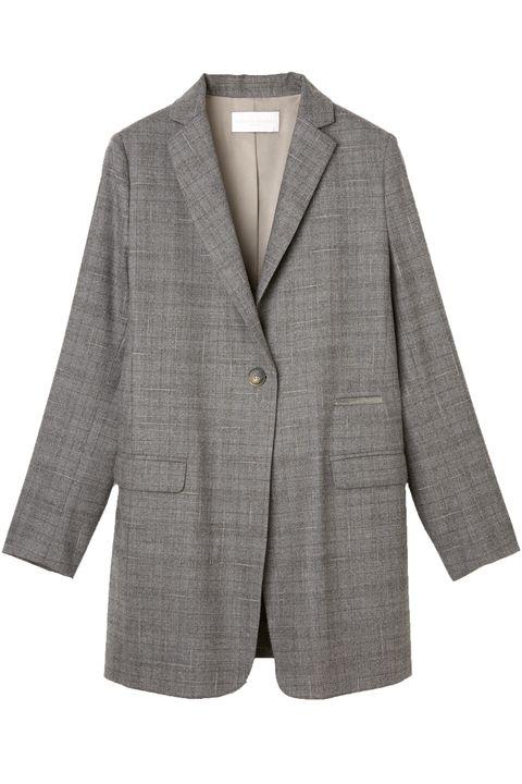 Clothing, Outerwear, Jacket, Blazer, Suit, Sleeve, Beige, Button, Formal wear, Coat,