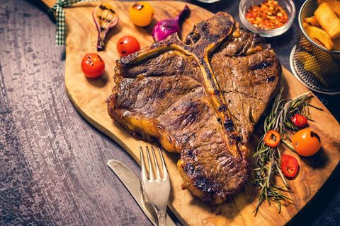 Dish, Food, Cuisine, Pork steak, Steak, Ingredient, Rinderbraten, Rib eye steak, Meat, Pork chop,