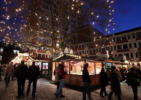 Night, Tree, Sky, Lighting, Light, Public space, Christmas lights, Winter, Town, Urban area,