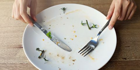 Cropped Hands Holding Fork And Knife On Dirty Plate