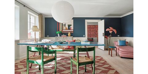 Room, Furniture, Interior design, Property, Table, Dining room, Turquoise, House, Building, Floor,