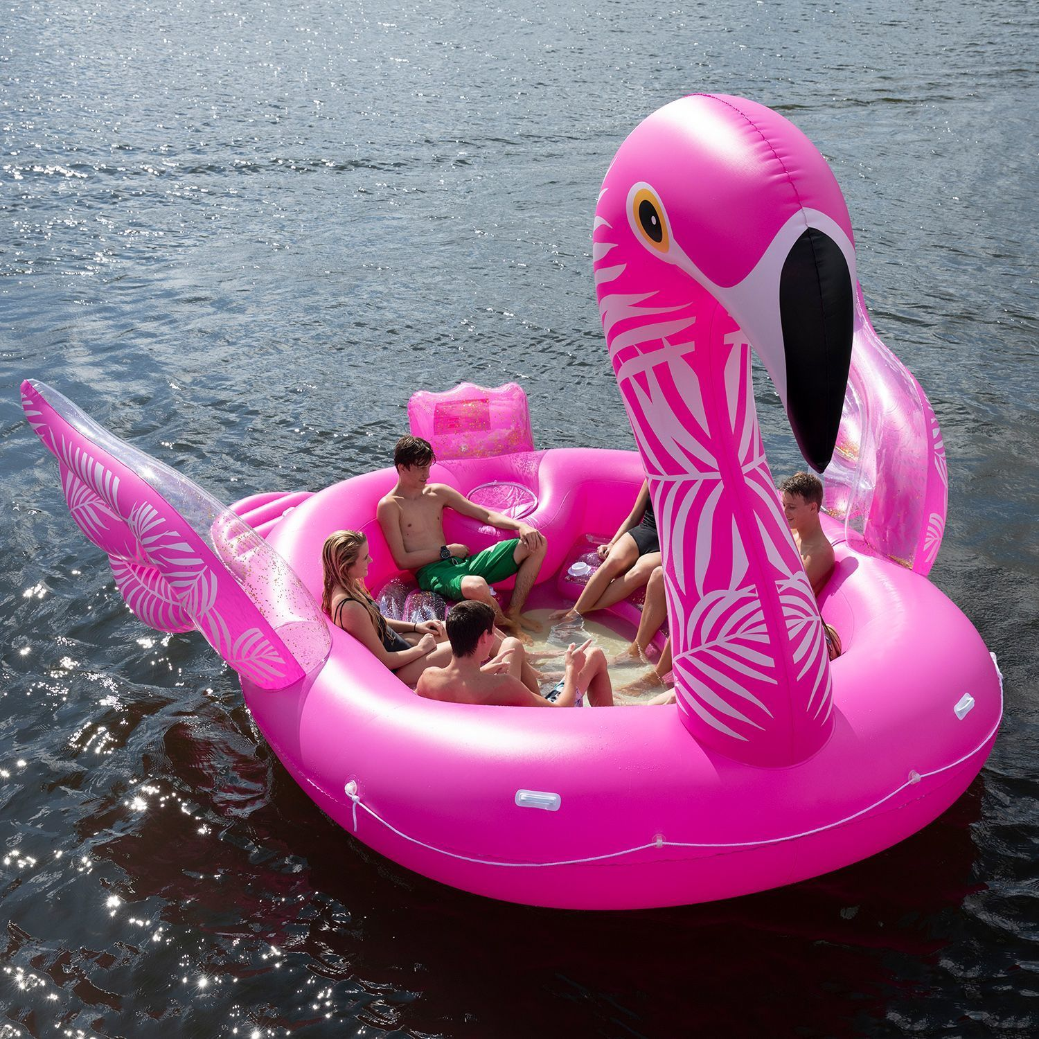 This Massive Glittery Flamingo Float Seats 6 People