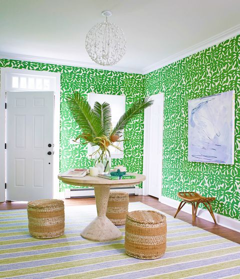 Green, Room, Interior design, Wall, Table, Furniture, Leaf, House, Wallpaper, Tree,