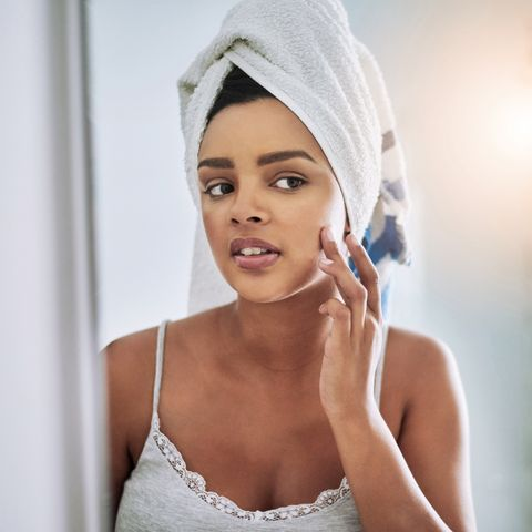 Taking care to keep her skin looking at its best