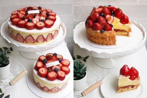 Dish, Food, Cuisine, Dessert, Strawberries, Fruit cake, Ingredient, Torte, Baked goods, Strawberry,