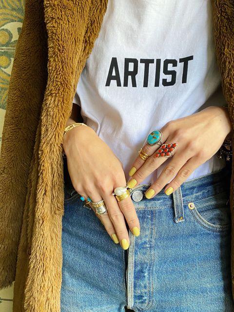 Jeans, Denim, Hand, Nail, Turquoise, Street fashion, Finger, Outerwear, Textile, Wrist,