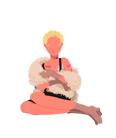 Sitting, Cartoon, Kneeling, Pink, Illustration, Meditation, Costume, Clip art, Graphics, Physical fitness,