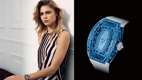 Blue, Watch, Beauty, Watch accessory, Fashion accessory, Photography, Electric blue, Photo shoot, Wrist, Brand,