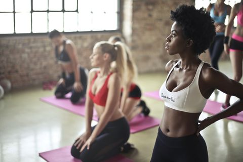 Physical fitness, Pink, Shoulder, Circuit training, Pilates, Room, Arm, Joint, Aerobics, Abdomen,
