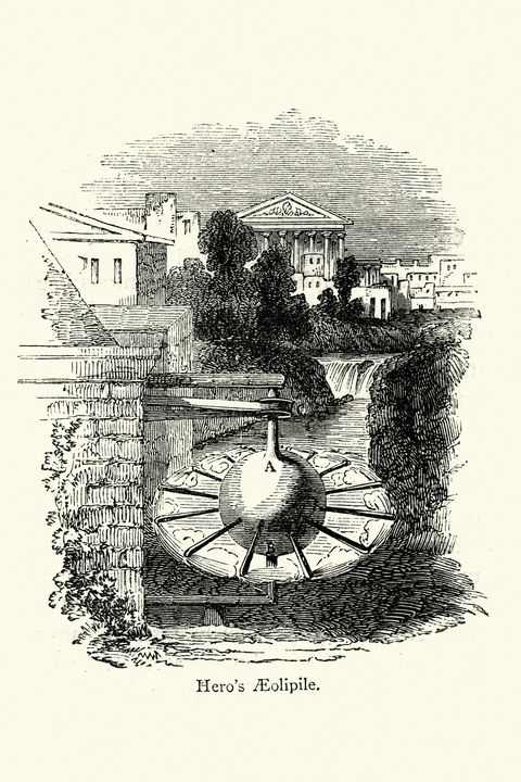 vintage engraving of a aeolipile or aeolipyle, or eolipile, also known as a hero's engine, is a simple bladeless radial steam turbine which spins when the central water container is heated