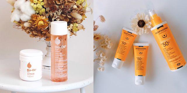 bio oil百洛護膚油與滋潤凝膠與isispharma伊姿法瑪的優日護uveblock系列防曬品