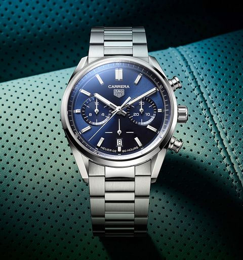 the carrera with a blue sunray dial and steel bracelet