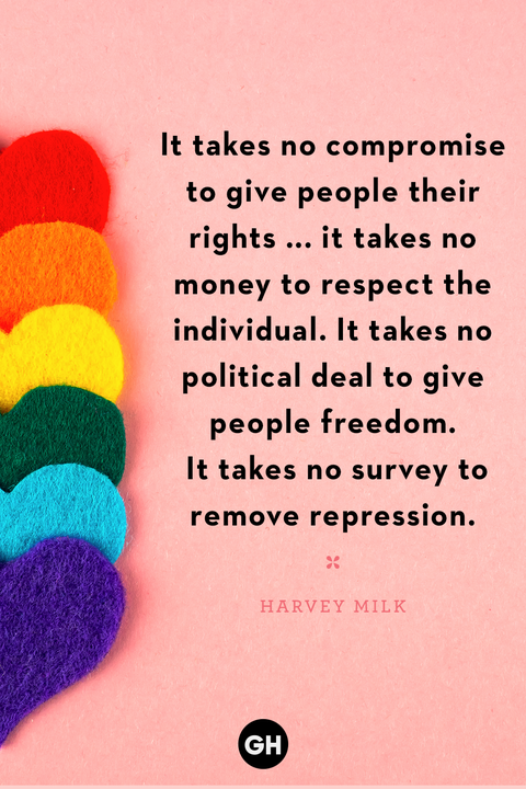 pride month quote on pink background