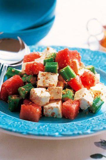 7月3日「すいか、オクラ、豆腐の和え物」