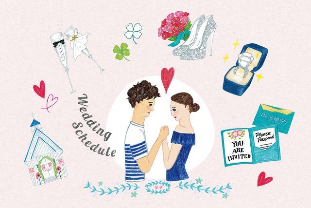結婚が決まって、結婚式までのスケジュールを考えているカップルのイメージイラスト