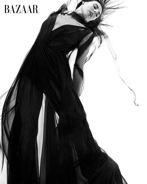 tiler peck in black dress black and white