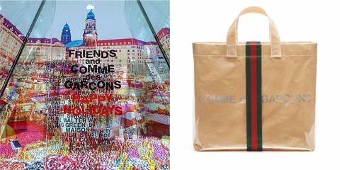 f29d5d0a739 聖誕節揹這包太應景!Gucci 與COMME des GARÇONS 聯名推出紅綠織帶PVC托 ...