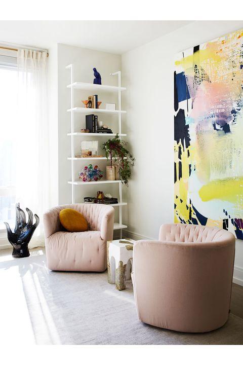 Furniture, Room, Interior design, Product, Yellow, Living room, Floor, Wall, Table, Shelf,