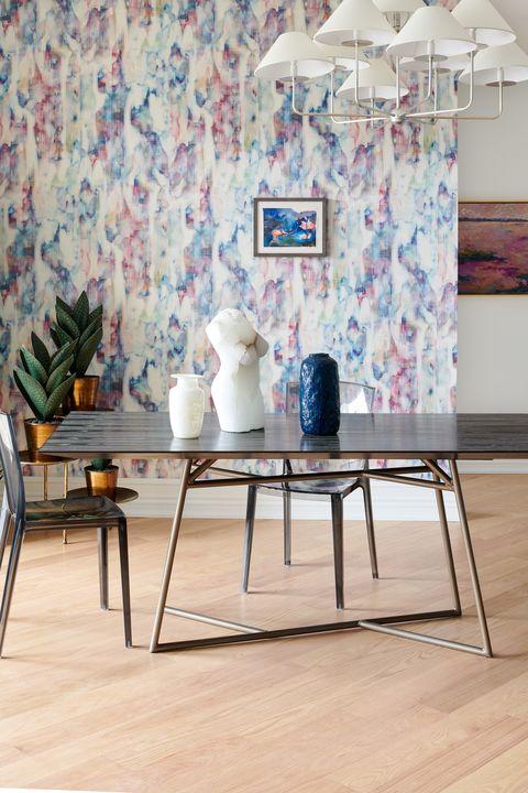Furniture, Table, Room, Wall, Interior design, Floor, Wallpaper, Flooring, Coffee table, Tile,