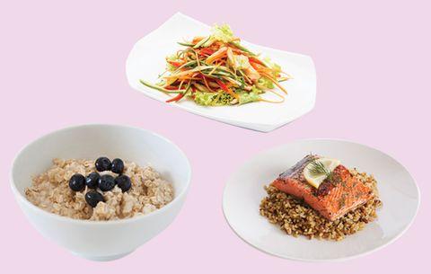 Monday vitamin eating plan oatmeal salad and salmon