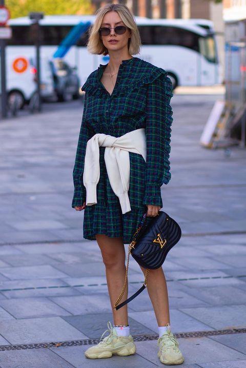 Clothing, Street fashion, Plaid, Photograph, Fashion, Snapshot, Footwear, Pattern, Shoe, Tartan,