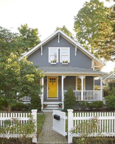 grey house yellow door