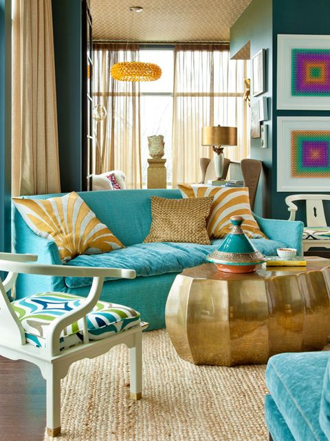 Living room, Furniture, Room, Interior design, Turquoise, Green, Property, Yellow, Table, Aqua,