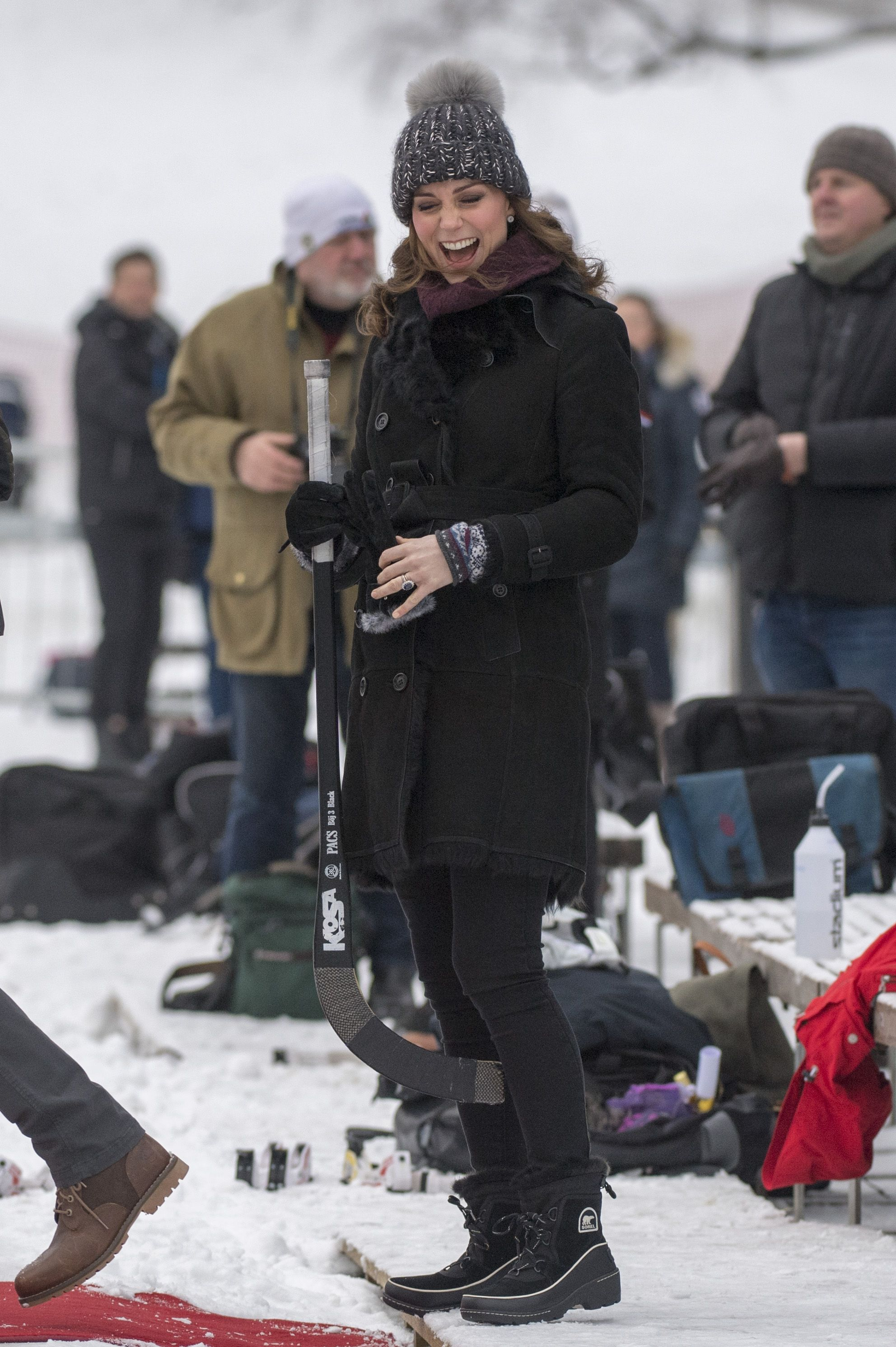Shop Now Sorel Tivoli III Boots, $130 On January 30, 2018, during the royal visit to Sweden and Norway, the Duchess of Cambridge debuted a new pair of Sorel snow boots while playing bandy, a Swedish version of hockey.