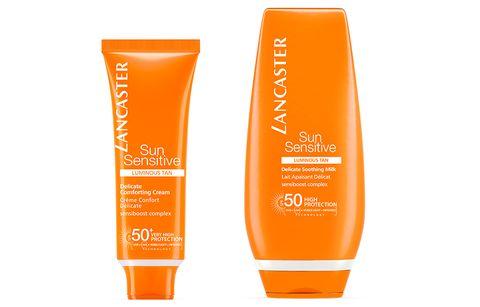 Product, Orange, Skin care, Cosmetics, Cream, Hand, Sunscreen, Material property,