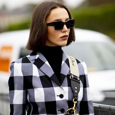 Eyewear, Sunglasses, Hair, Street fashion, Clothing, Fashion, Plaid, Outerwear, Hairstyle, Beauty,