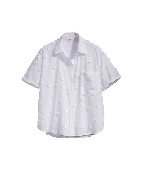 Clothing, White, Sleeve, Shirt, Collar, Button, Blouse, Top, Outerwear, Dress shirt,