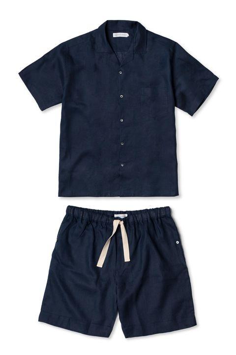 navy linen cuban pj set