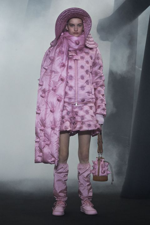 Pink, Clothing, Purple, Fashion, Outerwear, Human, Footwear, Magenta, Dress, Fashion design,