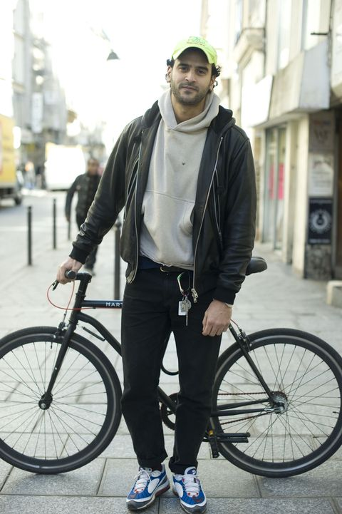 Street fashion, Photograph, Bicycle, Bicycle wheel, Fashion, Snapshot, Bicycle part, Jacket, Jeans, Vehicle,