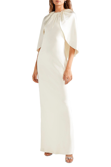 yoox brandon maxwell white bridal wedding dress with cape