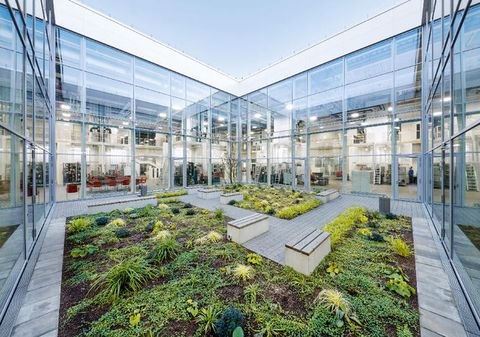 Building, Architecture, Mixed-use, Real estate, Botany, Headquarters, Facade, Greenhouse, Urban design, Commercial building,