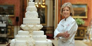 Fiona Cairns with royal wedding cake.