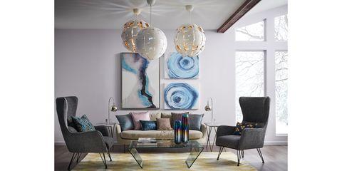 Living room, Room, Furniture, Blue, Interior design, Turquoise, Chandelier, Lighting, Table, Light fixture,