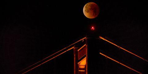 Moon, Night, Light, Lunar eclipse, Astronomical object, Celestial event, Sky, Midnight, Full moon, Darkness,